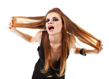 ciemni dziewczyny makeup krzyki Fotografia Stock