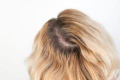 Ciemni korzenie włosy, przerastający włosy zdjęcie royalty free