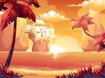 Ciemnopąsowy słońce, wschód słońca lub zmierzch na morzu z galeonem, ilustracja wektor
