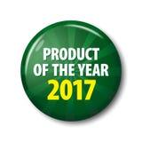 Ciemnozielony round etykietki ` produkt roku 2017 ` royalty ilustracja