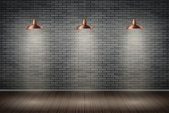 Ciemny ściana z cegieł pokój z rocznik lampami Obrazy Royalty Free