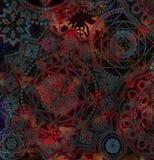 Ciemny abstrakcjonistyczny geometrical wzór z kwiecistymi elementami royalty ilustracja