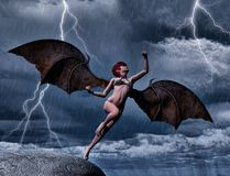 Ciemny anioł Lata w nocy Zdjęcie Royalty Free