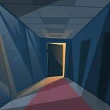 Ciemny Biurowy pokoju światło Od drzwi korytarza korytarza ilustracji