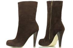 Ciemny brąz heeled buty Zdjęcia Stock