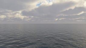 Ciemny chmurny burzowy niebo z chmurami i fala w morzu ilustracji