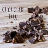 Ciemny czekolady i tekst czekolady dzień Zdjęcie Royalty Free