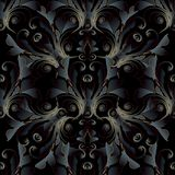 Ciemny czerni 3d barokowy bezszwowy wzór Wektorowy kwiecisty adamaszka bac Zdjęcie Stock