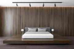 Ciemny drewniany luksusowy sypialni wnętrze ilustracja wektor
