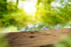 Ciemny drewniany stół w wiosna krajobrazie Obraz Stock