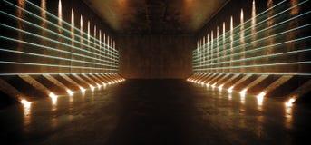 Ciemny fantastyka naukowa Astronautycznego statku Pusty Nowożytny Futurystyczny Tunelowy korytarz Z Grunge Odbijającą Betonową te royalty ilustracja