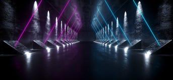 Ciemny fantastyka naukowa Astronautycznego statku Pusty Nowożytny Futurystyczny Tunelowy korytarz Z Grunge Odbijającą Betonową te ilustracji