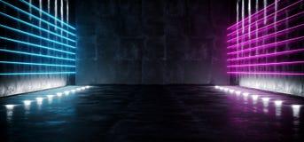 Ciemny fantastyka naukowa Astronautycznego statku Pusty Nowożytny Futurystyczny Tunelowy korytarz Z Grunge purpur I tekstury błęk ilustracji