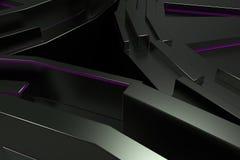 Ciemny futurystyczny technologiczny tło z jarzyć się linie royalty ilustracja