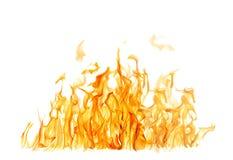 Ciemny i jaskrawy pomarańcze ogień na białym tle obraz stock