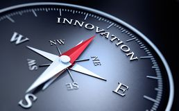 Ciemny kompas z srebną i czerwoną igłą - pojęcie innowacja ilustracji