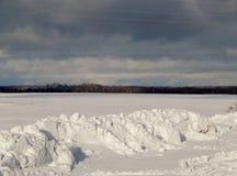 Ciemny las jest wyraźnie widoczny na tle biały śnieg obrazy stock