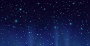 Ciemny niebo z jaśnienie gwiazdami Wektorowy nocnego nieba tło ilustracja wektor
