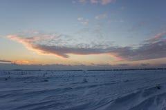 Ciemny piękny niebo Zmierzchu Słońce Szybkie unosi się chmury istnej zimy mroźny zmierzch w polu Zdjęcie Royalty Free