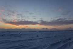 Ciemny piękny niebo Zmierzchu Słońce Szybkie unosi się chmury istnej zimy mroźny zmierzch w polu Fotografia Stock
