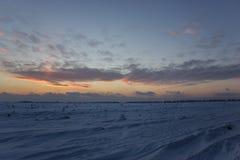 Ciemny piękny niebo Zmierzchu Słońce Szybkie unosi się chmury istnej zimy mroźny zmierzch w polu Obrazy Royalty Free