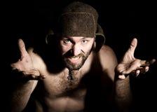 Ciemny portret straszny zły ponury brodaty mężczyzna z smirk, robi różnorodnemu hand& x27; s podpisuje różne emocje i wyraża Zdjęcie Royalty Free