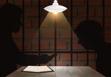 Ciemny przesłuchanie pokój z detektywem, podejrzany i ofiara Ja ilustracji
