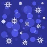 Ciemny tło płatki śniegu i okręgi Zdjęcia Royalty Free