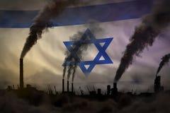 Ciemny zanieczyszczenie, walka przeciw zmiana klimatu pojęciu - przemysłowa 3D ilustracja przemysłowych drymb zwarty dym na Izrae obrazy royalty free
