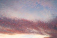Ciemnych zmierzchu nieba chmury menchii kolorowy afterglow Zdjęcia Stock