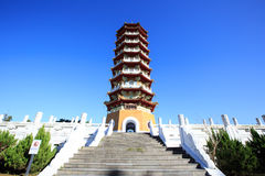 Cien tower  in Sun Moon lake ,Taiwan. The tower in the Sun Moon Lake under the blue sky Stock Photos