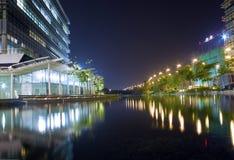 Ciencia de Hong-Kong y parque de tecnología en la noche imagen de archivo libre de regalías