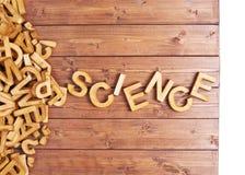 Ciencia de la palabra hecha con las letras de madera Fotos de archivo libres de regalías