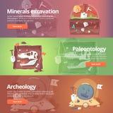 Ciencia de la vida Excavación de los minerales paleontología ilustración del vector