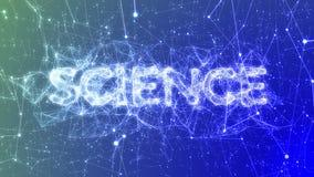 Ciencia en la animación animada azul del concepto del palabra de moda, conexiones de red del plexo ilustración del vector