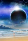 Ciencia ficción de la Mate-pintura del planeta de la playa de la muchacha Imagen de archivo