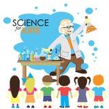 Ciencia para los cabritos Demostraciones del científico de la historieta a los niños Foto de archivo