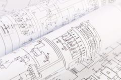 Ciencia, tecnología y electrónica Drenaje de la ingeniería eléctrica Imagen de archivo