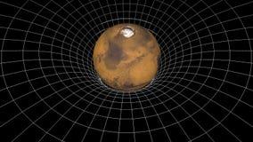 Ciencia universal del lazo del embudo del hoyo de la curva del tiempo de espacio de la rotación del planeta de Marte de la animac libre illustration