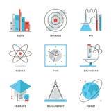 Ciencia y línea iconos del descubrimiento fijados Fotos de archivo libres de regalías