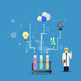 Ciencia y medicina infographic en fondo azul (chemica grande Fotografía de archivo
