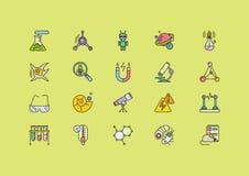Ciencias de los símbolos fijadas de las líneas iconos de los movimientos Fotografía de archivo