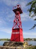 Cienfuegos Bay lighthouse. Ancient lighthouse at Cienfuegos Bay entrance, a place known as Pasacaballos, at Caribbean Sea, Cuba Royalty Free Stock Photo