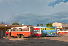 Cienfuegos bus station with buses and so called buses standing Royalty Free Stock Image