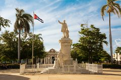 Monument to Jose Martì in the square of the same name in Cienfuegos. Cienfuegos, Cuba - December 7, 2017: Monument to Jose Martì in the square of the same royalty free stock photo