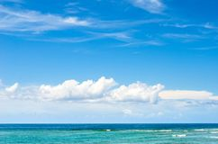 Cienfuegos, Cuba: Dolphinarium. Beautiful sea and cloudscape in the South coast . Point of view from the city Dolphinarium which reopened its doors in the Summer royalty free stock photography