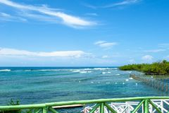 Cienfuegos, Cuba: Dolphinarium. Vibrant color of the sea. Point of view from the city Dolphinarium which reopened its doors in the Summer of 2018 after a capital royalty free stock photography