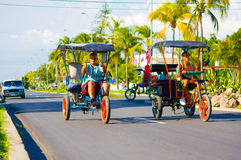 CIENFUEGOS, CUBA - SEPTEMBER 12, 2015: Bicitaxis Royalty Free Stock Photo