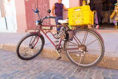 CIENFUEGOS, CUBA - SEPTEMBER 12, 2015: home made pedal assisted gas powered bicycle. Royalty Free Stock Photography