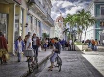 Cienfuegos Pedestrian Street, Cuba Royalty Free Stock Images